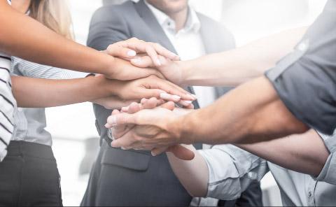 Teamwork - stacked hands